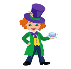Mad Hatter  holding a cup of tea. Vector illustration.