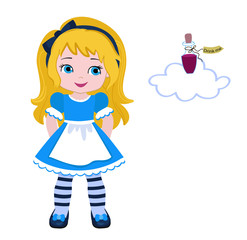 """Illustration of Beautiful Alice from Wonderland and Bottle with a tag that reads """"drink me"""". Vector."""