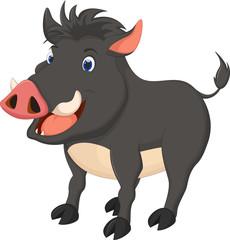 wild boar cartoon posing