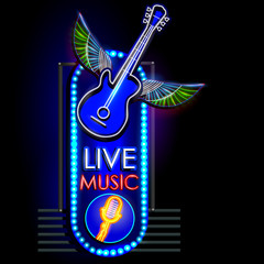 Neon Light signboard for Live Music