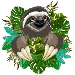 Poster Draw Sloth Cute Cartoon on Tropical Nature