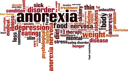 Anorexia word cloud concept. Vector illustration