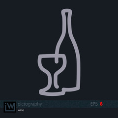 Wine icon, single line drawing. Flat vector design for logo, bag, t-shirt, web, ads, etc. Isolated background.