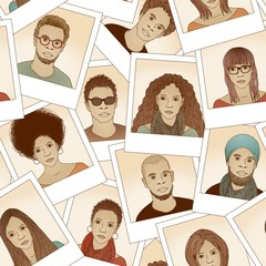 Seamless pattern of hand drawn photographs (same man and woman with different hair styles)