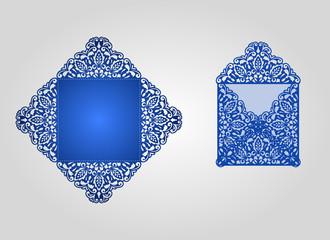 Die cut envelope template vector.
