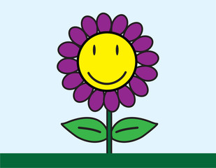 vector of smiley flower cartoon drawing