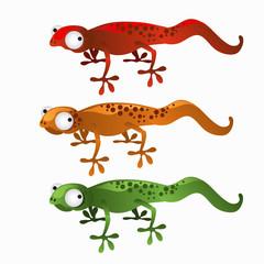 Three cartoon lizards red, green, and orange