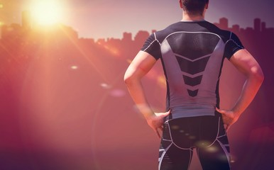 Composite image of rear view of athlete man posing