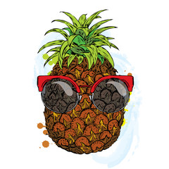 Funny pineapple in glasses. Vector illustration.