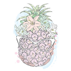 Funny pineapple in a wreath of flowers and glasses. Vector.