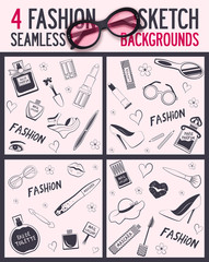 Four seamless pattern. Beauty and wellness items. Vector background for your design. It can be used for packing. Seamless background.