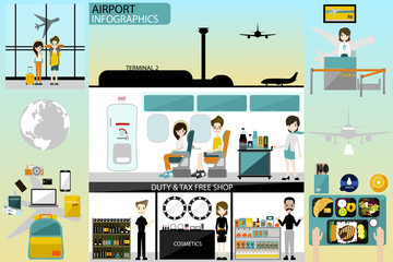 Airport business infographics template and travel element. activity in airport and worker in airport vector illustration.