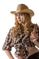 Lady in a cowboy hat on white background