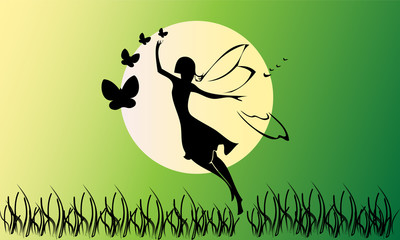 Fairy silhouette on green background