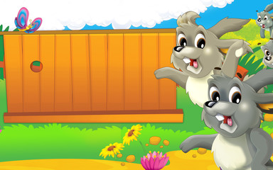 Cartoon farm scene - happy rabbit is looking - space for text - illustration for children