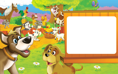 Cartoon farm scene - two dogs are smiling - rooster and hens in the background - space for text - illustration for children