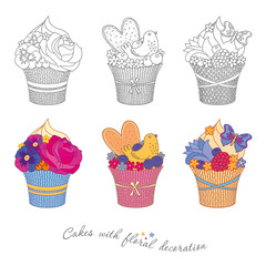 Muffins and cakes decorated of confectionery mastic flowers - roses, pansies and forget-me-not , cookies, berries, bird and butterfly. Color, black, isolated on white background.