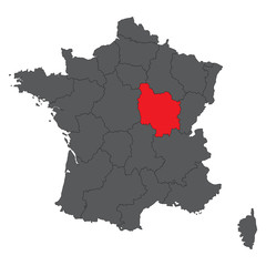 Bourgogne red map on gray France map vector