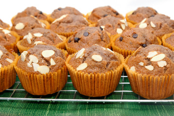Banana muffins or cupcake on the wooden table
