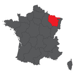 Lorraine red map on gray France map vector