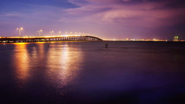 Bridge Leads to South Padre Island, Texas at Sunset