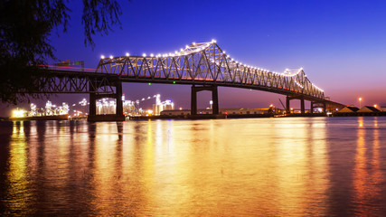 Baton Rouge Bridge Over Mississippi River in Louisiana at Night