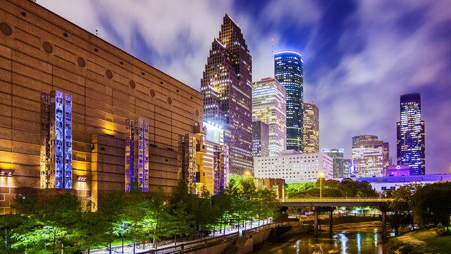 Houston, Texas Downtown Skyline at Night