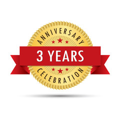 Three years anniversary celebration icon logo