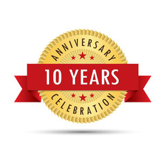 Ten years anniversary celebration icon logo