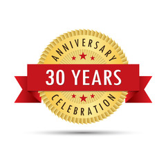 Thirty years anniversary celebration icon logo