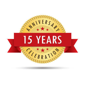 Fifteen years anniversary celebration icon logo