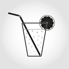 Black glass of lemonade with straw and lemon slice. Flat icon.