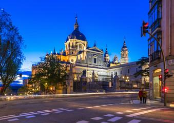 Night view of Cathedral Santa Maria la Real de La Almudena in Madrid, Spain