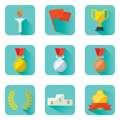 Set flat vector icons sports awards achievements and attributes