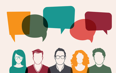 Five people. Men and women avatar profile picture set. Businessman, coworkers, team, think, Question. Idea, Brainstorm. Business concept vector illustration.