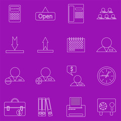 A set of contour business icons on purple background