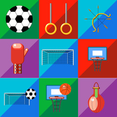 A set of sports icons on a two-tone background