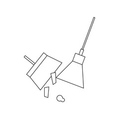 Broom and dustpan icon, outline style