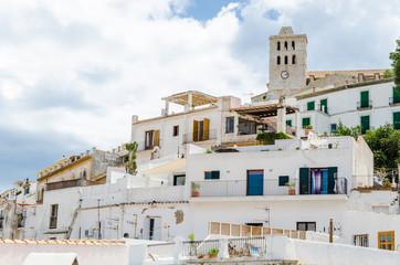 Ibiza rue et cathédrale, Espagne, Baléares