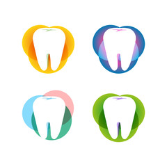 Isolated white tooth vector logo set. Round shape. Tooth hygiene logotype collection on the white background. Dental implants icons group. Caries treatment sign.