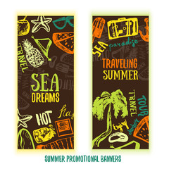 Summer time hand drawn doodle banner. vector symbols and objects with palm tree, glasses, bag and lettering