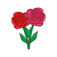 Flowers on grave icon, cartoon style