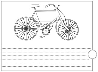 Coloring book with old bike and place for text