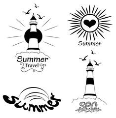 Set of marine elements sea sun gull lighthouse on the white background