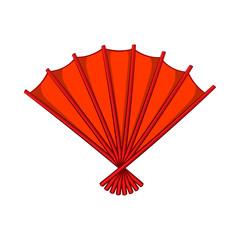 Red open hand fan icon, cartoon style