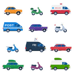 Collection of different cars like ambulance and post minivan, fbi automobile and classic family sedan, motorcycles or gas minibikes assortment for traveling and vacation