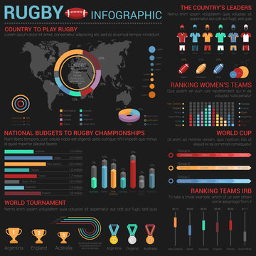 Rugby or american football infographic template with medals and cups, world map and isometric bar, circle and linear, slider and square charts, sport form elements