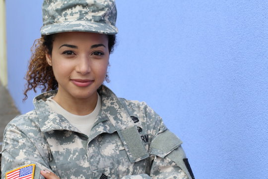 Horizontal portrait of a military ethnic army woman