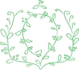 frame, leaves vector illustration