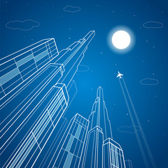 Big tower, airplane flying, business building, neon city, infrastructure illustration, architecture, vector design art